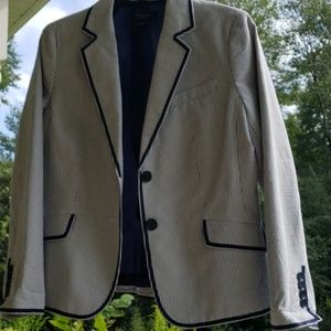 New Navy and White stripped piped blazer